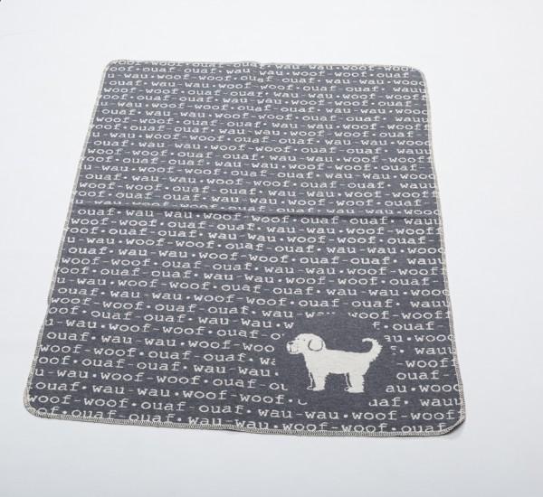 Hundedecke 'wau wau', Grau, 70x90cm