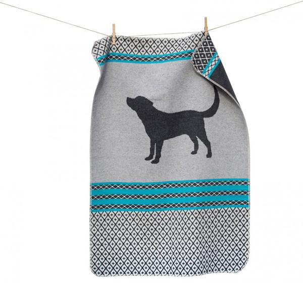 Hundedecke 'Hund gemustert, filzgrau, 70x90cm