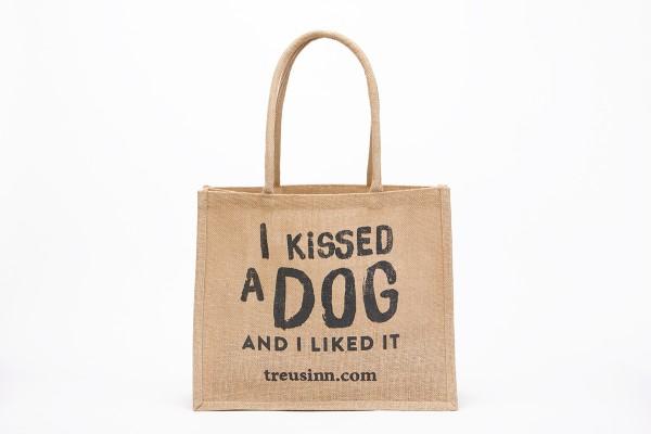 "Treusinn Eco Shopper Jute ""I kissed a dog"", Schwarz"