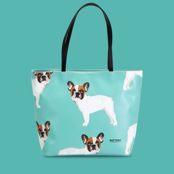 Pattern Shopper mit Zipper French Bulldog Tiffany