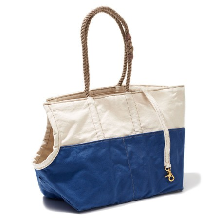 Found my animal Hundetasche Natural & Blue Waxed Cotton Canvas