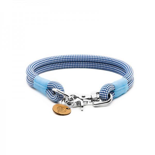 Q3N Halsband Sylter Strick Vichy Blau