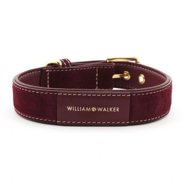 William Walker Wildleder Hundehalsband Lambrusco