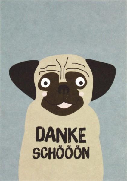 Postkarte Hund - Dankeschöööön