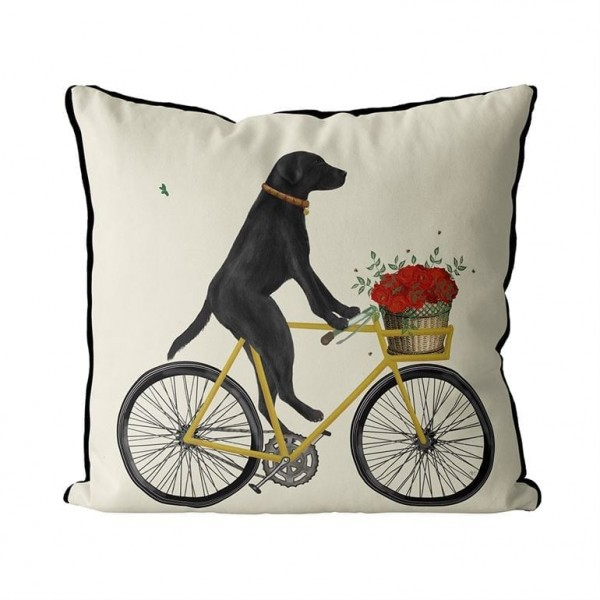 Fab Funky Kissen Black Labrador on Bicycle mit Federkissen