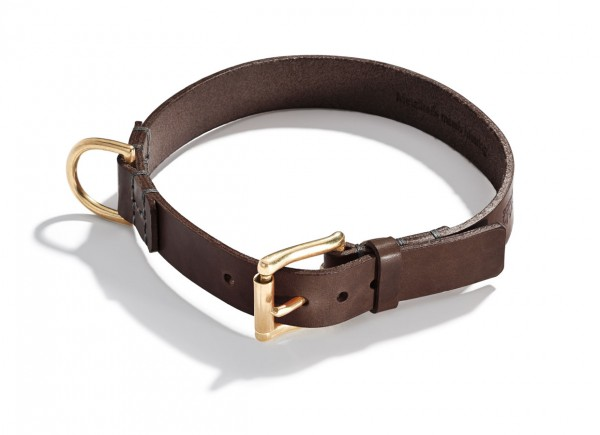 Schröders Hund Halsband Leder Oldschool, Braun