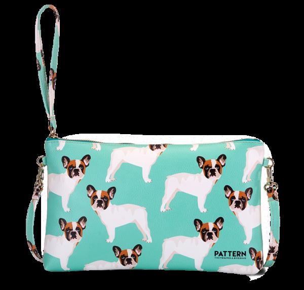 Pattern Clutch mit Zipper French Bulldog Tiffany