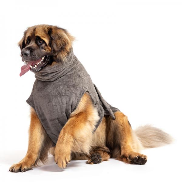 Hundebademantel Bio-Baumwolle, Stone Grey