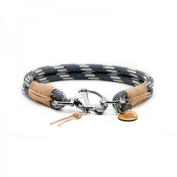 Q3N Halsband Sylter Strick Deluxe Grau-weiss