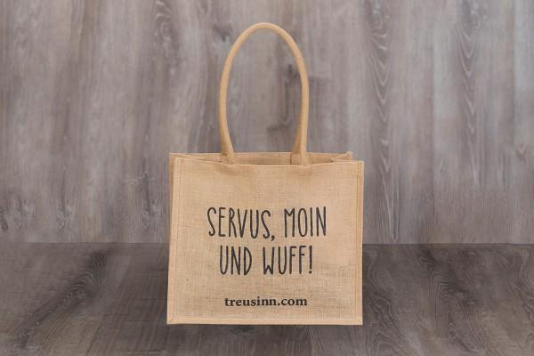 "Treusinn Eco Shopper Jute ""Servus, Moin und Wuff!"", Schwarz"