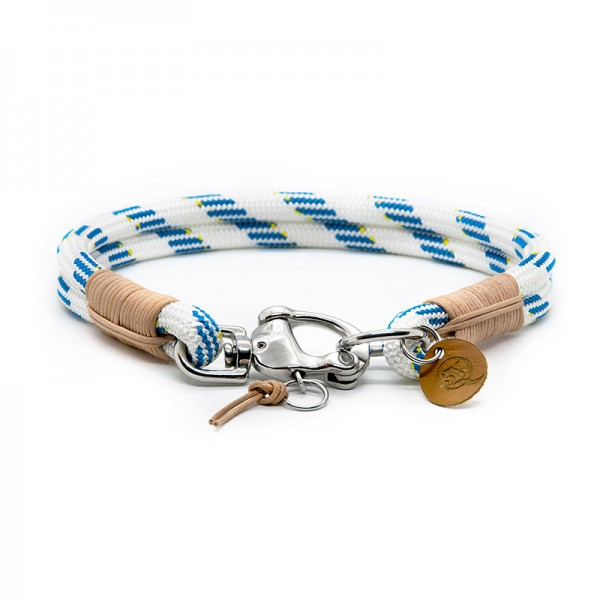 Q3N Halsband Sylter Strick Deluxe Weiss-Blau