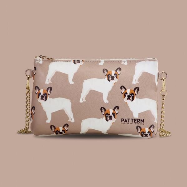 Pattern Tasche Miss weekend French Bulldog Hazelnut