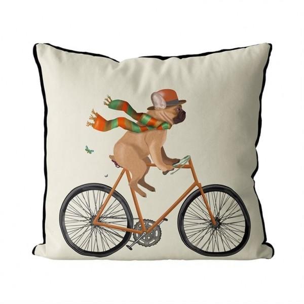 Fab Funky Kissen French Bulldog on Bicycle mit Federkissen