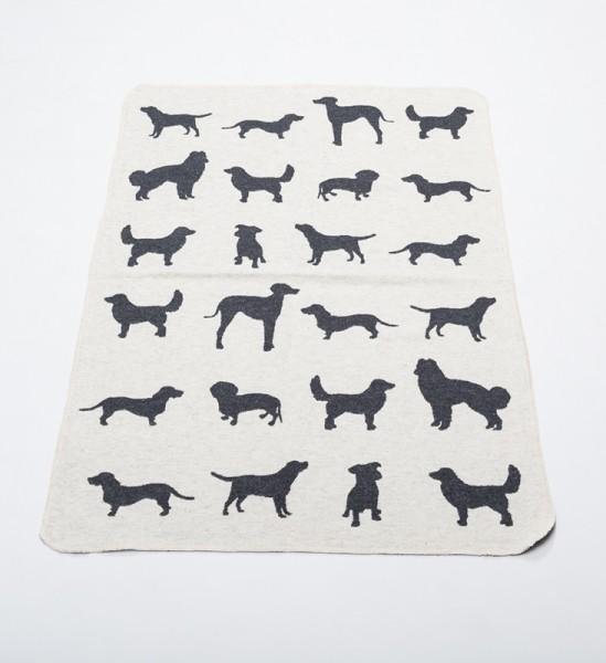 Hundedecke Hunde 'allover' rohweiss, 70x90cm