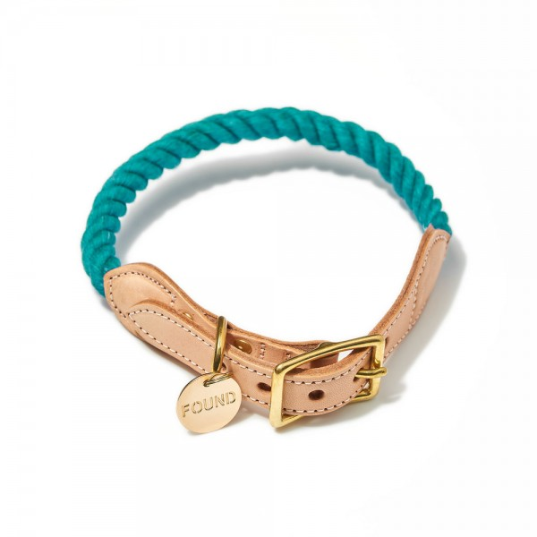 Found my animal Halsband Rope Teal up-cycled