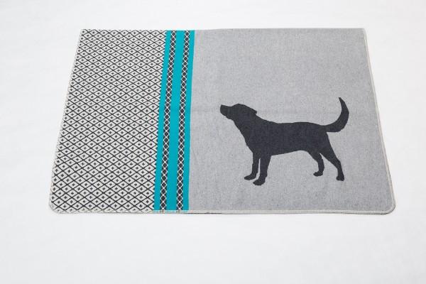 Hundedecke 'Hund gemustert', filzgrau,100x140cm