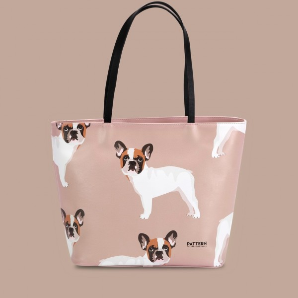Pattern Shopper mit Zipper French Bulldog Hazelnut