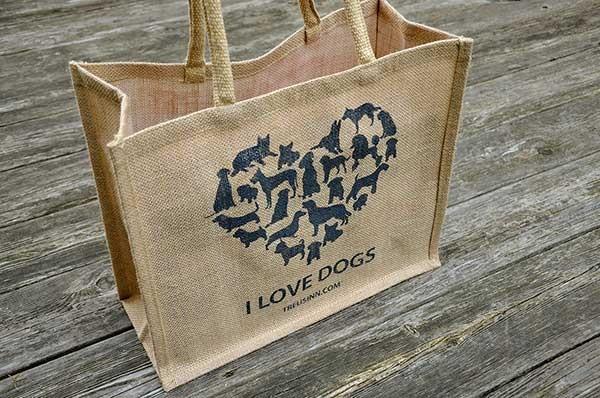 """Treusinn Eco Shopper Jute """"I Love Dogs"""", Schwarz"""