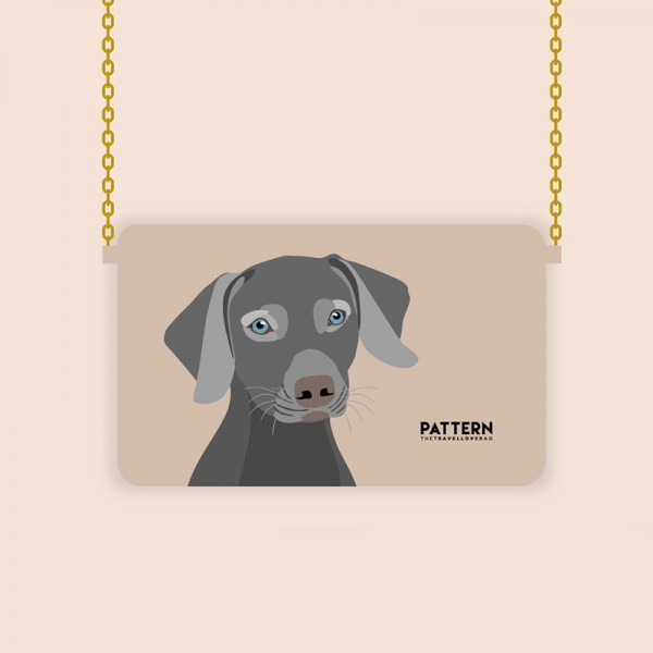 Pattern Tasche Miss weekend Weimaraner Ivory
