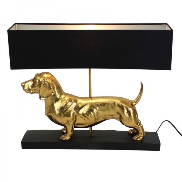 Tischleuchte Dackel gold